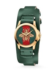Gucci G Timeless Embroidered Bee Goldtone Stainless Steel And Leather Watch Green