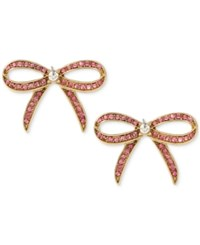 Betsey Johnson Gold Tone Pink Pave Bow Stud Earrings