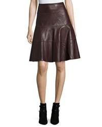 Bagatelle Faux Leather A Line Knee Skirt Plum