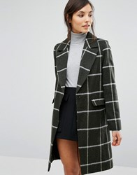 Oasis Checked Coat Multi Green