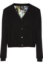 Mcq By Alexander Mcqueen Printed Silk Paneled Wool Cardigan Black
