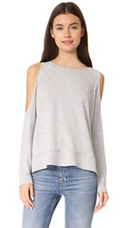 Cupcakes And Cashmere Mariam Cold Shoulder Sweatshirt Light Heather Grey