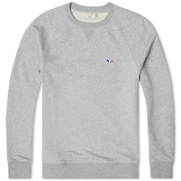 Maison Kitsune Tricolour Fox Crew Neck Sweat Grey Melange
