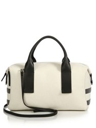 Brunello Cucinelli Monili Striped Canvas And Leather Satchel Vanilla