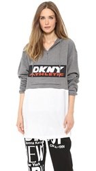 Dkny X Opening Ceremony Colorblocked Long Sleeve Hoodie Heather Grey White Black Red