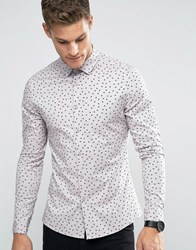 Asos Skinny Shirt In Dusty Pink With Black Print Dusty Pink