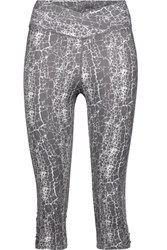 Yummie Tummie By Heather Thomson Candace Cropped Printed Stretch Cotton Leggings Anthracite