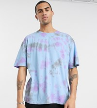 Heart And Dagger Acid Wash T Shirt With Logo Blue