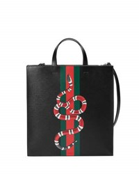 Gucci Web And Snake Leather Tote Bag Black