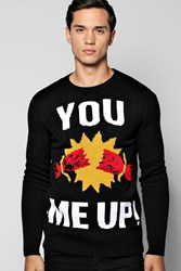 Boohoo Cracker Me Up Christmas Jumpers Black