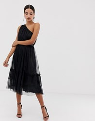 Maya One Shoulder Tulle Midi Dress Black
