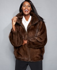 The Fur Vault Mink Fur Bomber Jacket Scanbrown