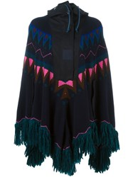 Sacai Fairisle Knit Poncho Blue