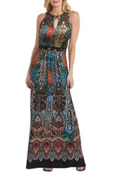Eci Women's Print Maxi Dress Teal Multi