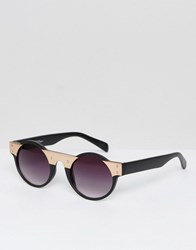 Jeepers Peepers Jeeper Round Sunglasses In Black Gold Black