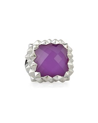 Stephen Webster Rhodium Plated Superstud Cocktail Ring W Sugilite And Quartz Doublet 14.85 Tcw