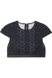 Myla Avery Row Broderie Anglaise Jersey And Stretch Tulle Bra Top Black
