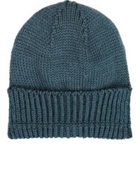Inis Meain Men's Mixed Knit Baby Alpaca Silk Slouchy Beanie Blue