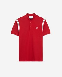 The Kooples Printed Red Polo Shirt Stand Up Collar Shoulder Band