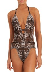 In Bloom By Jonquil Women's Thong Teddy Black With Champagne
