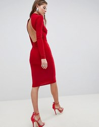 Club L High Neck Ruched Detailed Open Back Slinky Midi Dress Red
