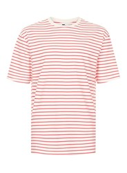 Topman Grey Off White And Red Stripe Oversized T Shirt