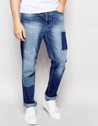 Vivienne Westwood Anglomania Skinny Fit Jeans With Patches And Distressing Blue