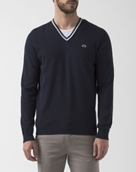 Lacoste Black White Trim Pr V Neck Wool Jumper