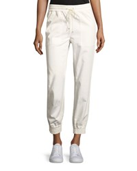 Theory Cortland Relaxed Cotton Jogger Pants Ivory White