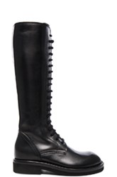 Ann Demeulemeester Stipe Flat Lace Up Leather Boots In Black
