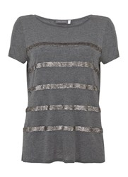 Mint Velvet Granite Sequin Stripe Tee Dark Grey
