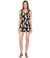 Kate Spade Posey Grove Tie Shoulder Romper Cover Up Black Women's Jumpsuit And Rompers One Piece