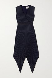 Dion Lee Pleated Pinstriped Woven Midi Dress Navy