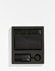 Calvin Klein Gift Set Passport Cover And Keyring Black Emerald Lake