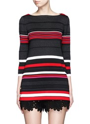 St. John 'Salins Stripe' Split Button Hem Knit Tunic Red Multi Colour
