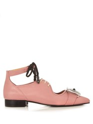 Toga Western Buckle Embellished Leather Shoes Light Pink