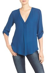 Lush Women's V Neck Crepe Blouse Sailor Blue