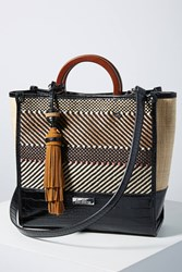 Anthropologie Marian Woven Tote Bag Black White