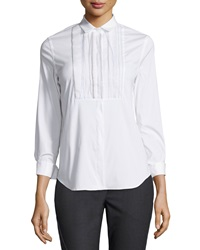 Brunello Cucinelli Poplin Blouse W Monili Beaded Bib White