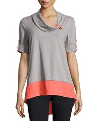 Neon Buddha Surf Contrast Cotton Blend Tunic Artist Coral