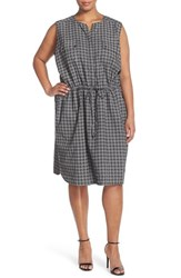 Plus Size Women's Caslon Sleeveless Print Linen Knit Drawstring Dress