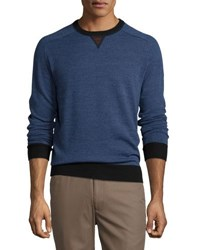 Peter Millar Sueded Trim Crewneck Sweater Charcoal