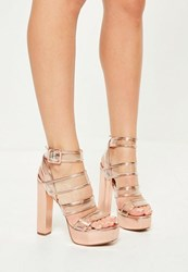 Missguided Rose Gold Clear Strap Heeled Platforms