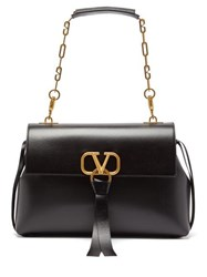 Valentino V Ring Medium Leather Shoulder Bag Black