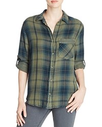 Side Stitch Stripe Trim Plaid Button Down Shirt Bloomingdale's Exclusive Olive Night