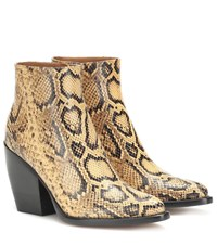 Chloe Exclusive To Mytheresa Rylee Snake Effect Leather Boots Yellow