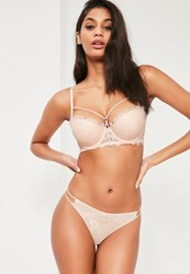 Missguided Nude Lace Strap Detail Thong