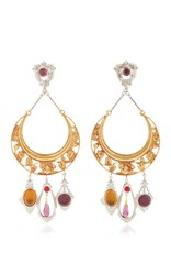 Rodarte Gold Crescent Earrings With Amber Amethyst And Ruby Glass Cabochons