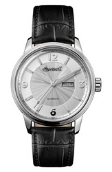 Ingersoll Watches Men's Regent Automatic Leather Strap Watch Black Silver