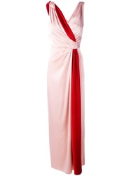Paule Ka Contrast Sash Evening Gown Red